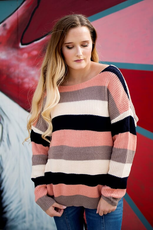 Twisted Navy Striped Sweater
