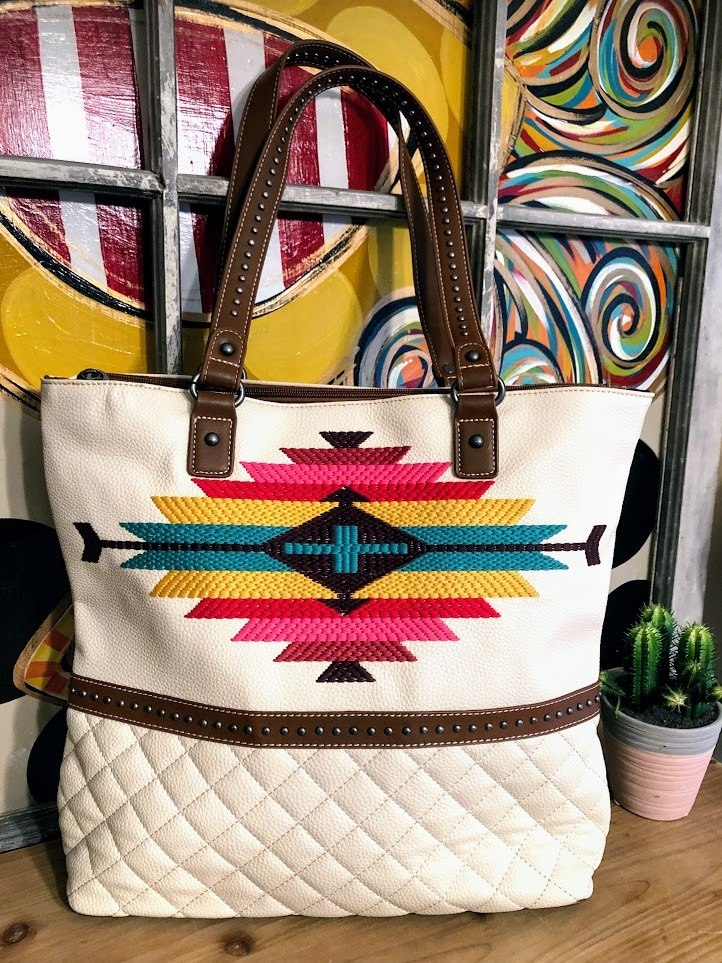 Aztec Embroidered Tote-White - The Pink Buffalo,LLC