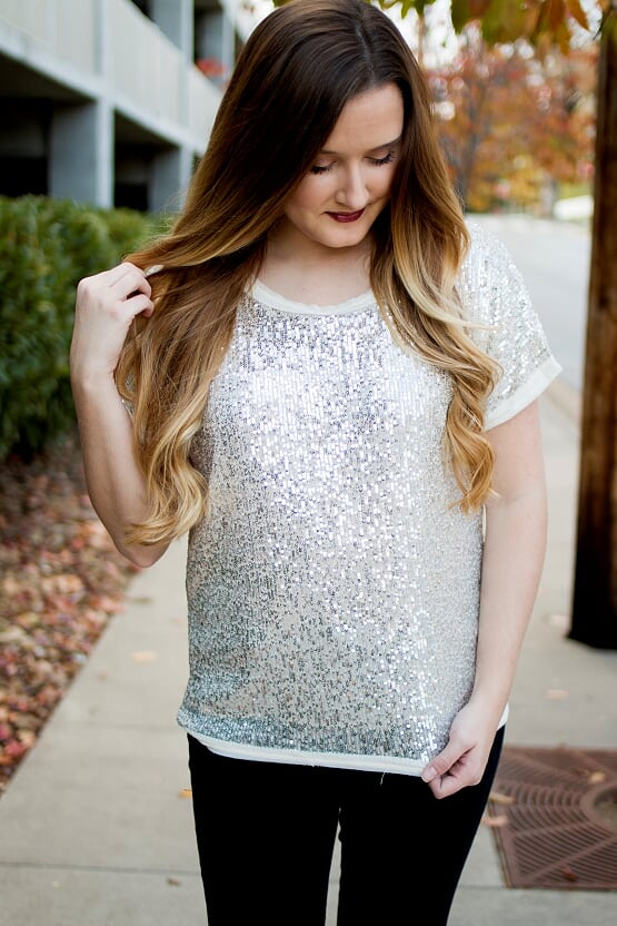 Creme Sequin Top with Tulle
