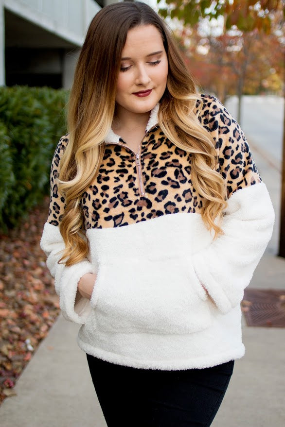 White Leopard Sherpa Pullover