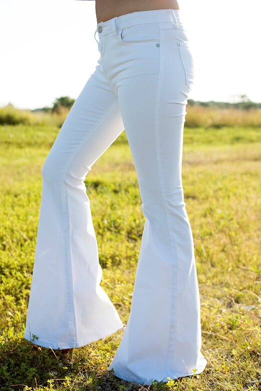White Bell Bottom Denim Jeans