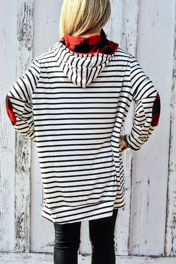 White Striped Hoodie with Buffalo Plaid Elbow Patch-PLUS