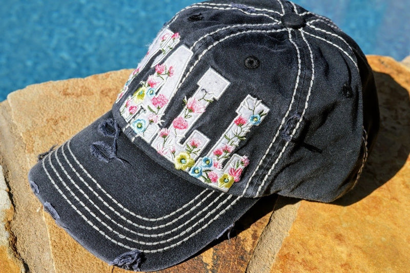 Hey Y'all Floral Hat (Gray)