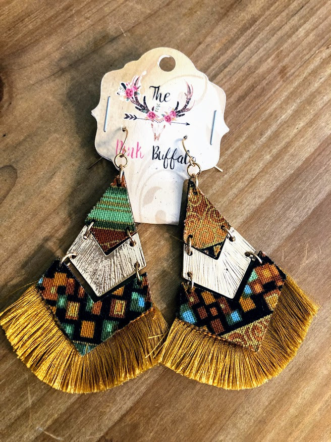 Aztec Fringe Earrings-Mustard