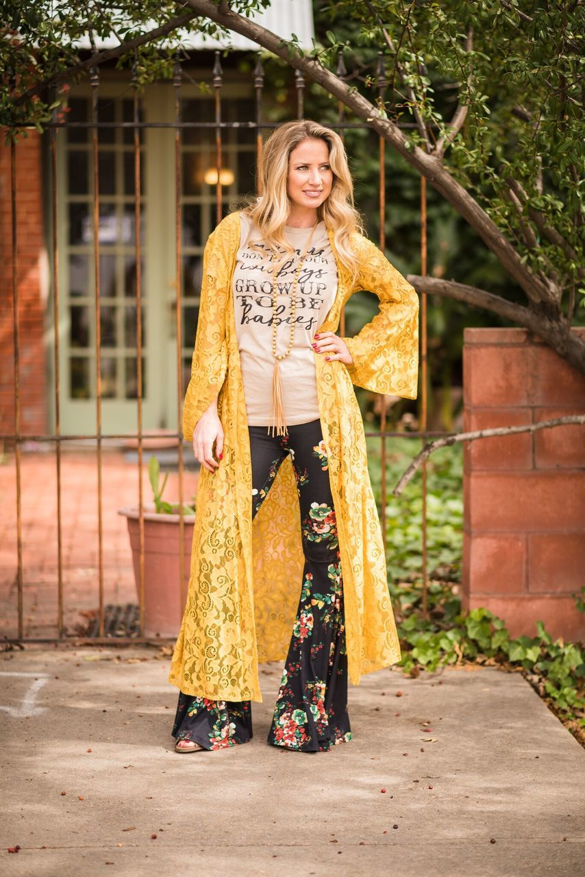 Boho Lace Mustard Duster - The Pink Buffalo,LLC
