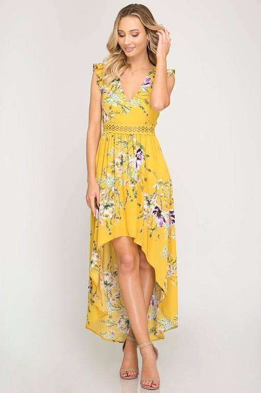 Summer Floral Dress-Goldenrod