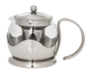 Stainless Steel and Glass Tea Pot