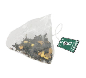 Pyramid teabag and Chai Spice tea blend with Tea From The Manor logo