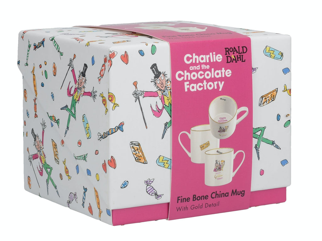 Roald Dahl Charlie And The Chocolate Factory Fine Bone China Can Mug With Gold Gift Box
