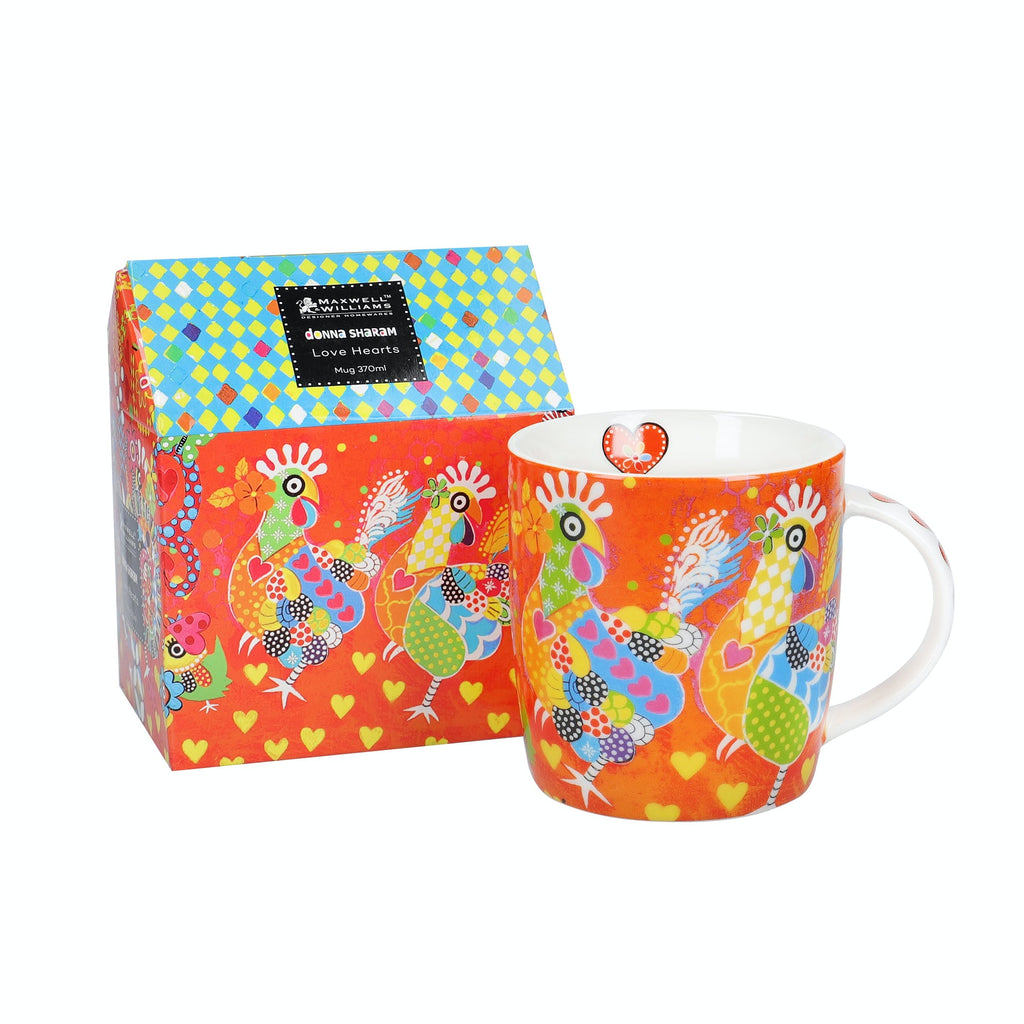 Bright red illustrated colourful gift box and Love Hearts 370ml Chicken Dance Mug