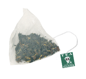 Darjeeling leaf tea in silky teabag with Tea From The Manor logo