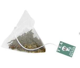 Pyramid teabag containing Earl Grey Tea with Tea From The Manor logo