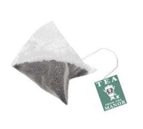 Pyramid teabag with Tea From The Manor logo and English Breakfast Tea