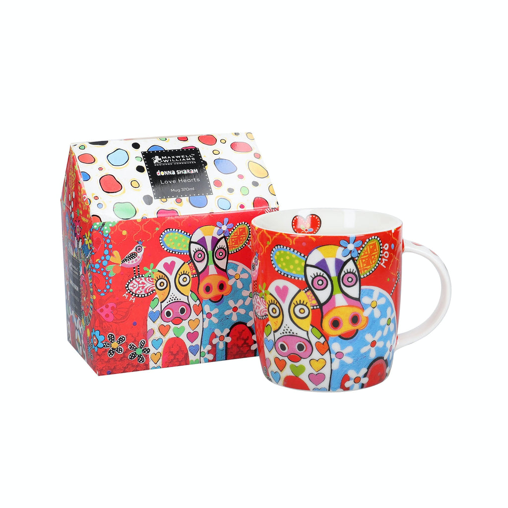 Maxwell & Williams Love Hearts Happy Moo Day Mug and gift box