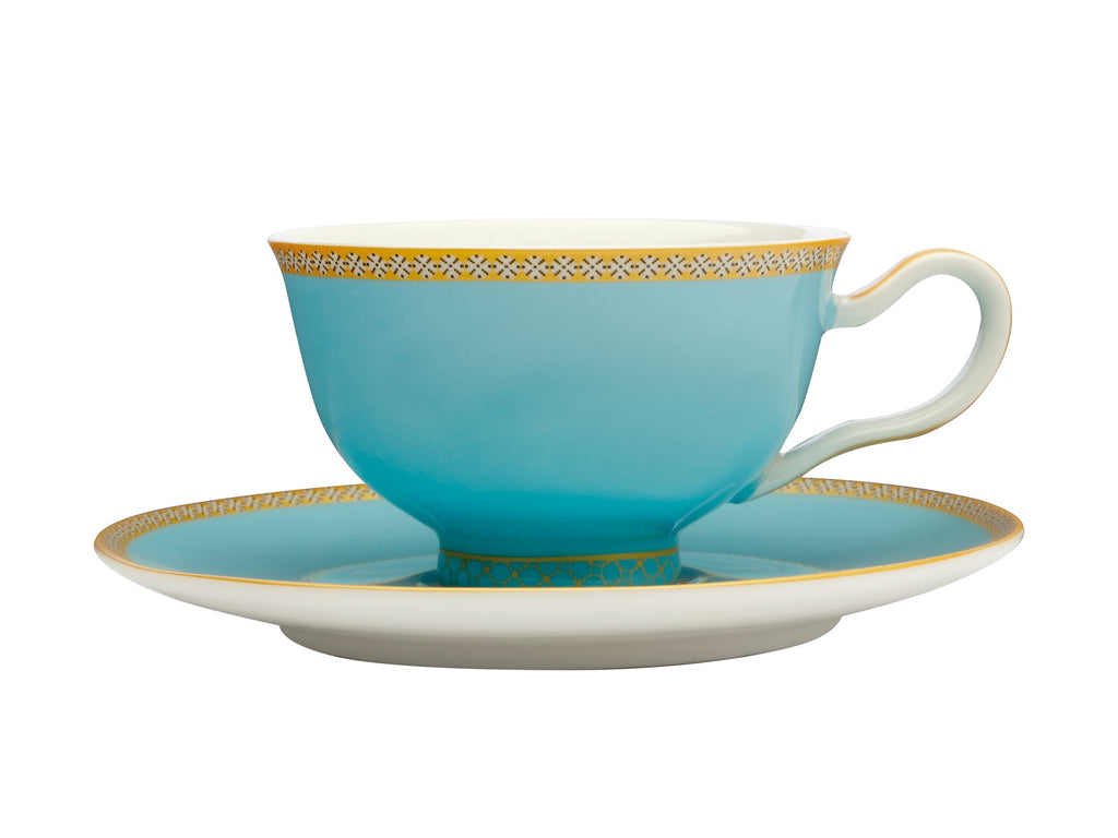 Maxwell & Williams Teas & C's Kasbah Turquoise 200ml Footed Cup and Saucer