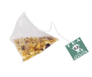 Lemon & Ginger Silky pyramid teabag with Tea From The Manor logo