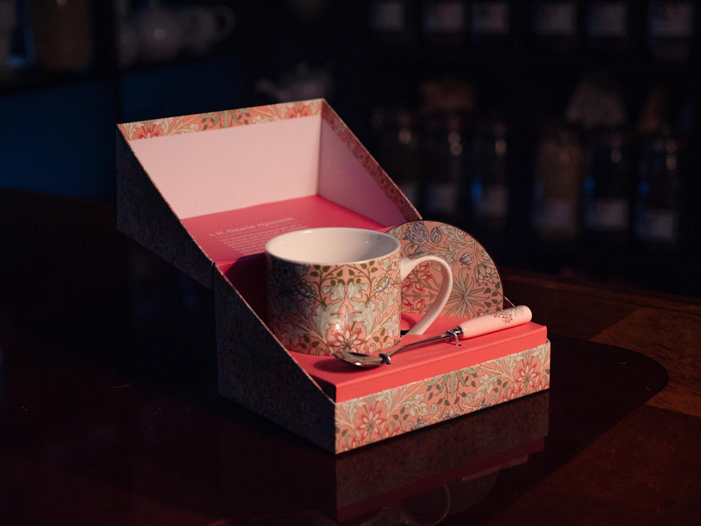 Pink Hyacinth boxed cup, spoon and coaster set