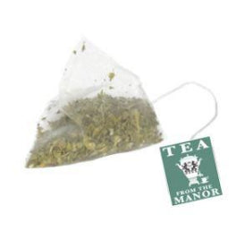 Silky pyramid tea bag with Tea From The Manor logo