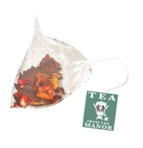 Christmas Blend tea in teabag with Tea From The Manor logo