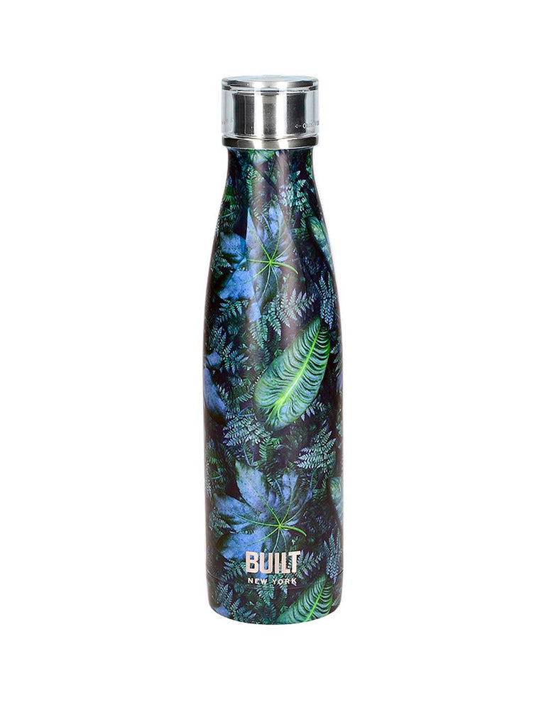Blue and green water bottle with tropical leaf design