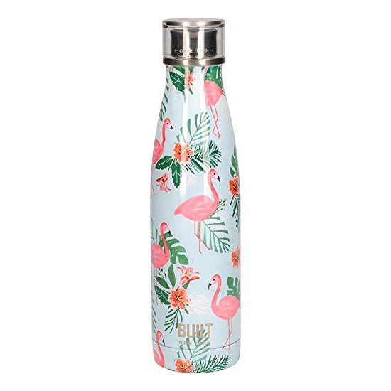 Steel water bottle blue with pink flamingo and green leaf
