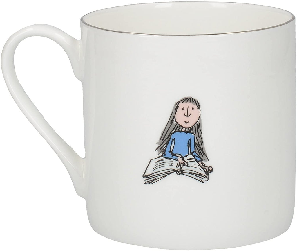 matilda fine bone china can mug with silver detail back illustration
