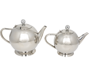 Two round stainless steel tea pots