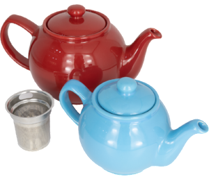 Red and blue ceramic tea pot with infuser