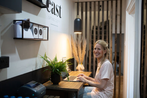 Cassie Jennings, Founder, East Gifting Outfit in her small office space created with the assistance of Sarah Beeny on Renovate Don't Relocate
