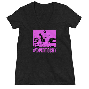 Women's Pink #expeditiously Fashion Deep V-neck Tee