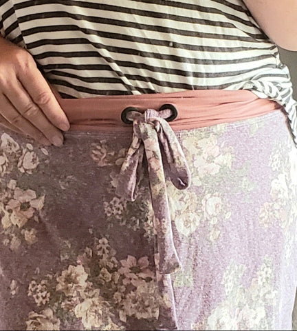 yoga waist band, pdf sewing patterns, sageville patterns, skirt pattern, attaching grommets, grommet drawstring
