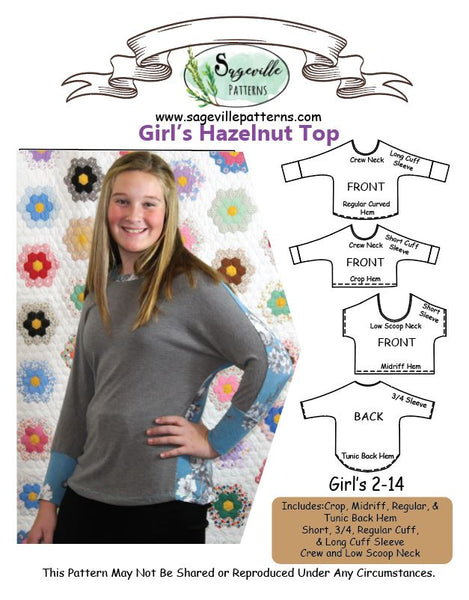 Hazelnut Top Bundle! Save big when you buy BOTH the Women's & Girl's Patterns!
