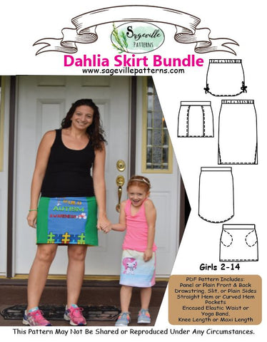Dahlia Skirt Bundle! Get both the women's and girl's pattern.