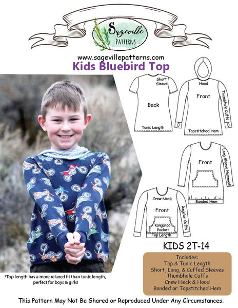 Bluebird Top Bundle! Save on ALL 3 when you bundle the Men's, Women's & Kid's Patterns!