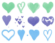 Load image into Gallery viewer, Watercolor Hearts