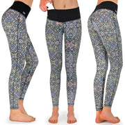 Fitness Tights Damen lang, mit Tasche, Spirit One, Ethno, Schlüsselkarabiner Handy