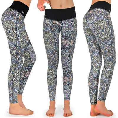 Fitness Tights Damen lang, mit Tasche, Spirit One