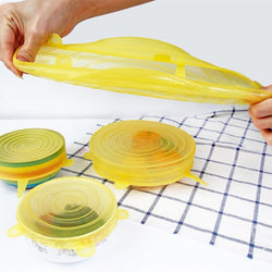 6pcs Reusable Premium silicon stretch lids for Kitchen