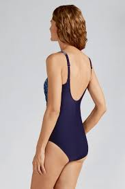 Amoena Cairo One Piece Swimsuit - Dark Blue & White 71053