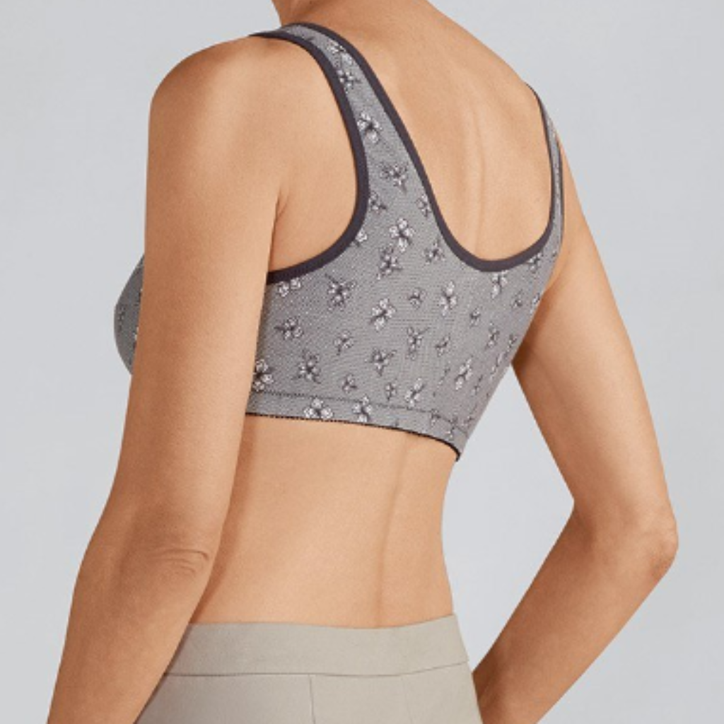 f77f50a97 ... Amoena Frances Wire Free Front Closure Mastectomy Bra - Grey Lace 2128 4