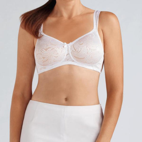 Amoena Helena Padded Moulded Cup Mastectomy Bra - White/Nude 44026
