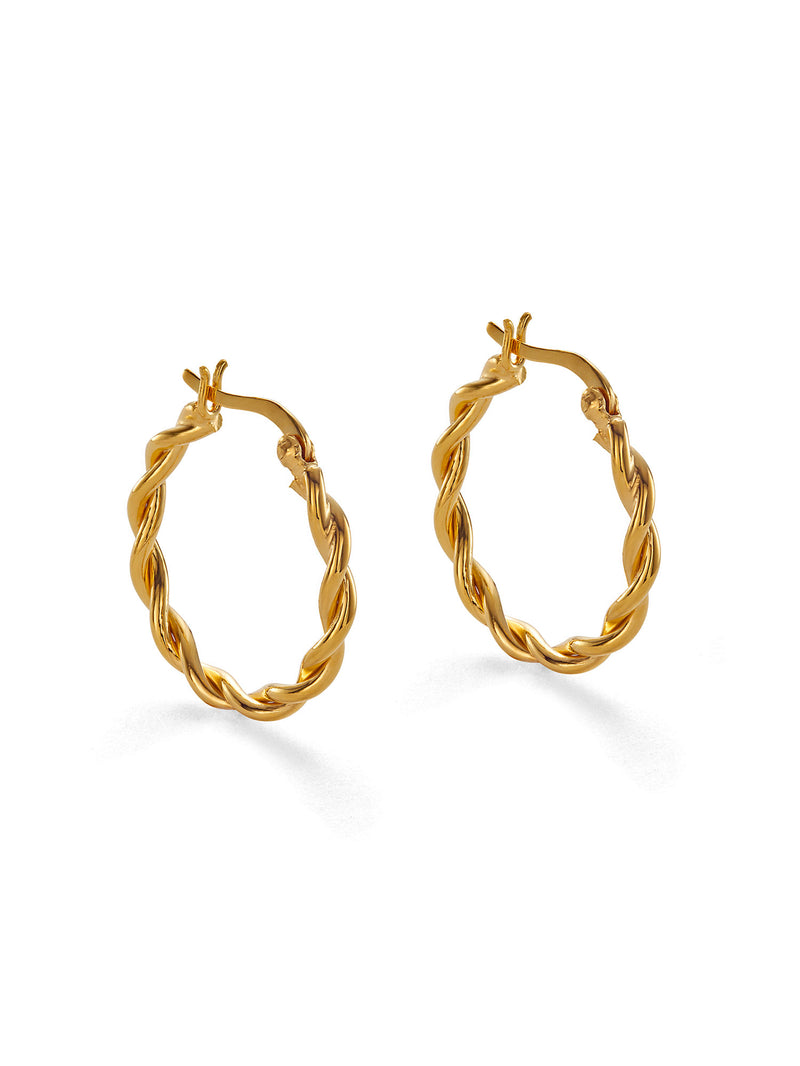 GOLD BRAIDED HOOP EARRINGS (Large)