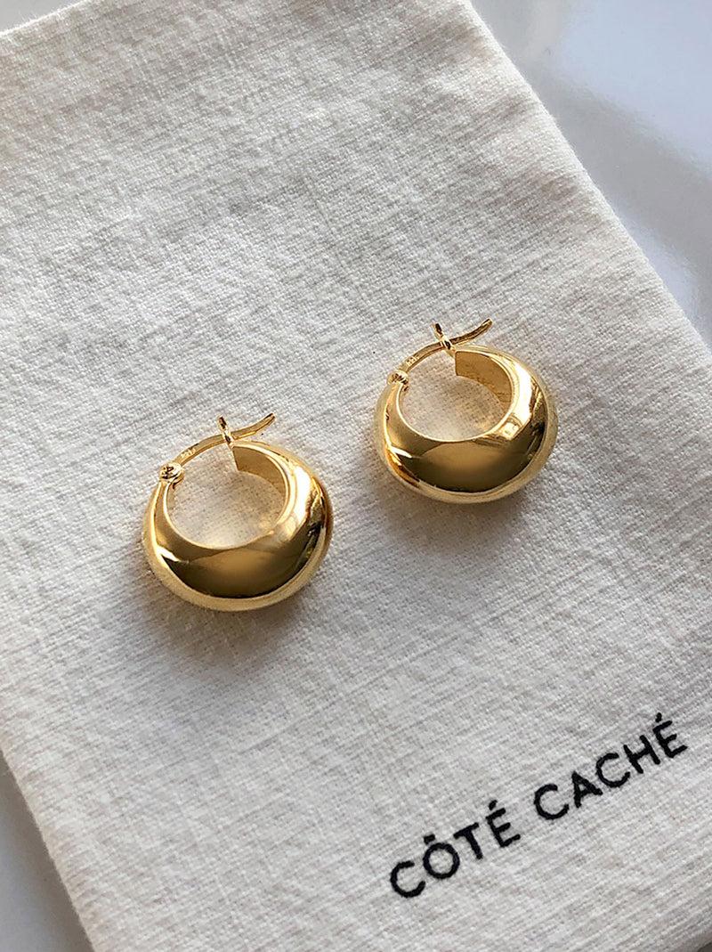 GOLD CHUNKY DROPLET EARRINGS (Medium)