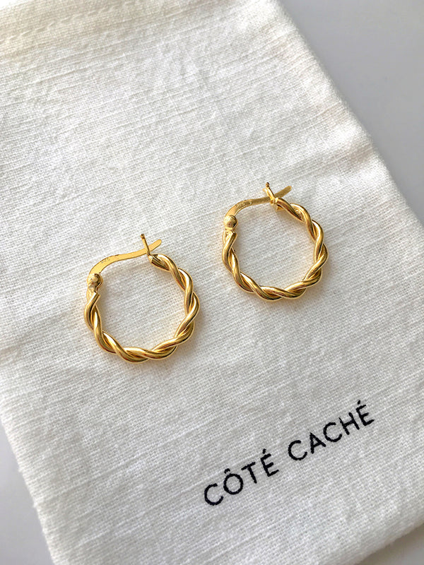 GOLD BRAIDED HOOP EARRINGS (Small)