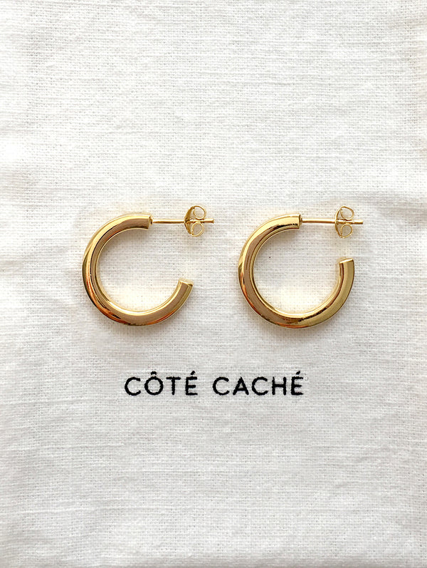 GOLD SQUARE LOOP EARRINGS