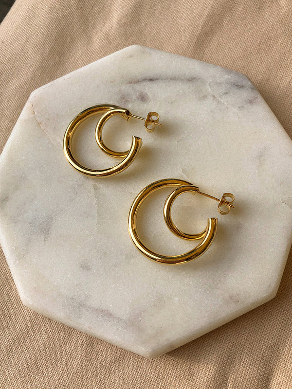 GOLDEN MOON HOOP EARRINGS