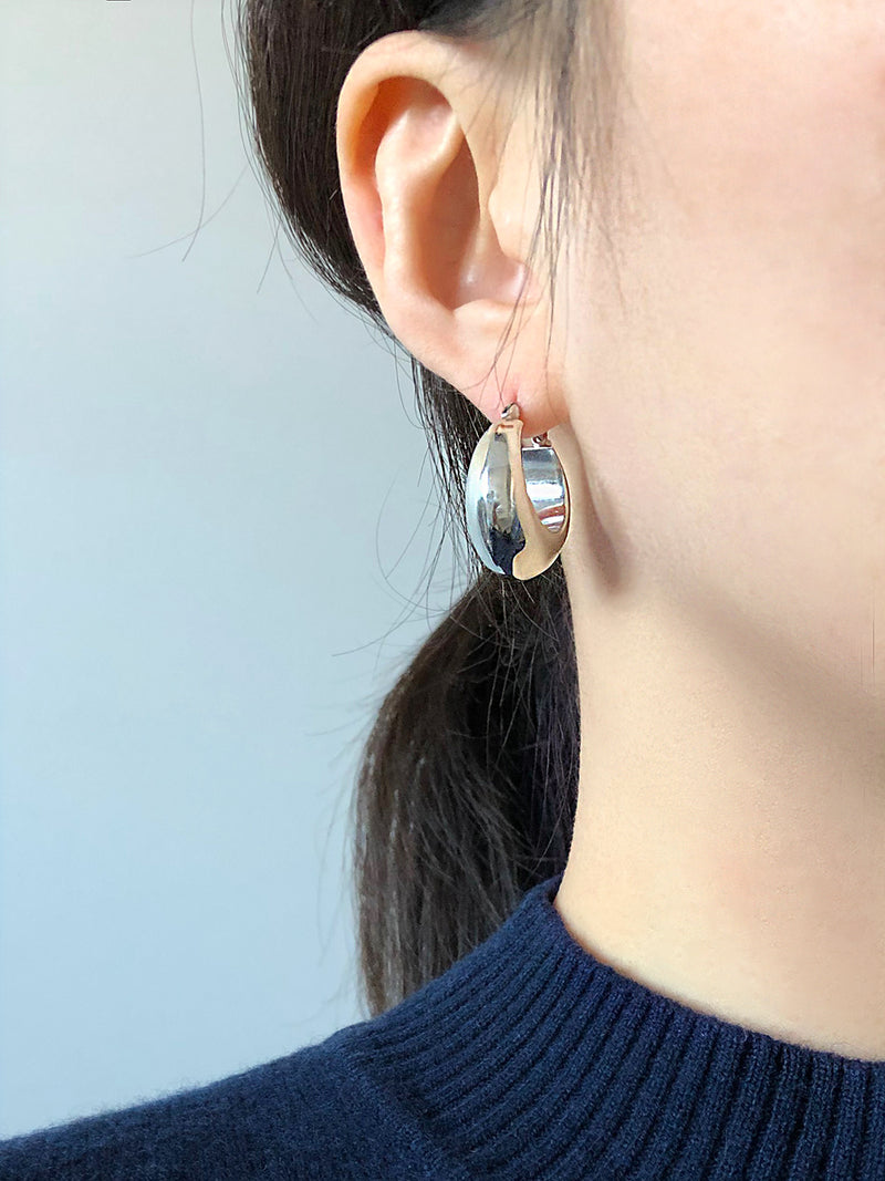 SILVER CHUNKY DROPLET EARRINGS (Large)
