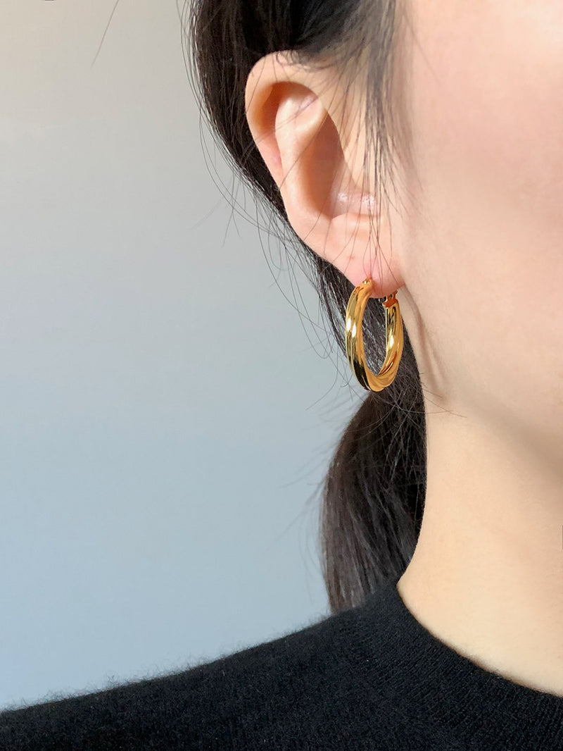 GOLD WATER SPIRAL EARRINGS (Large)