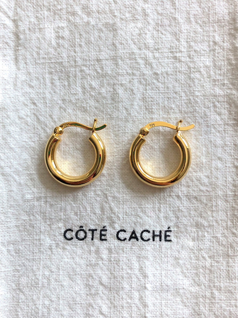 GOLD CREOLE CHUNKY HOOP EARRINGS (Medium)
