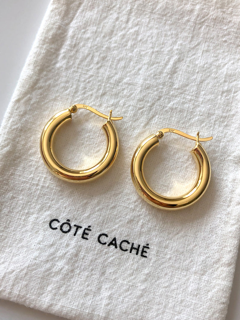 GOLD CREOLE CHUNKY HOOP EARRINGS (Large)